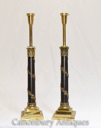 Corinthian Column Table Lamps - Regency Light Bases