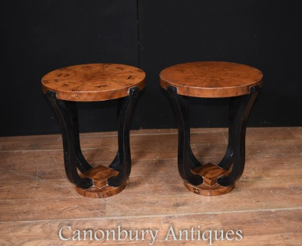 Deco Side Tables - Pair Cocktail Table Vintage Interiors