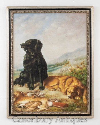 Dog Hunt Oil Painting Scene - English Retriever and Hare Hunting