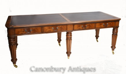 Double Antique Partners Desk - Gillows Mahogany 1860