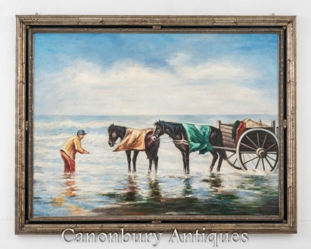 Dutch Oil Painting Horse and Cart Shrimp Fishing Portrait