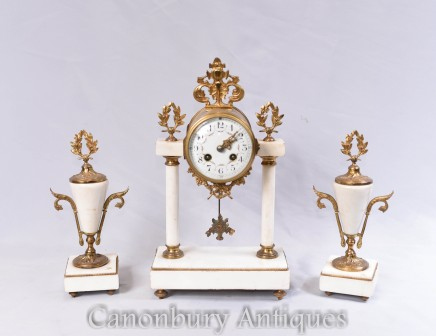 Empire Antique Clock Set - Gilt Marble French Garniture