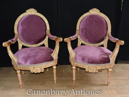 Empire Gilt Style Arm Chairs - French Armchair Interiors