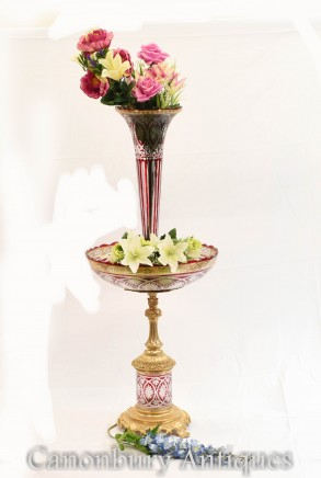 Empire Glass Dish Vase - Ormolu Comport Centrepiece Bowl Stand