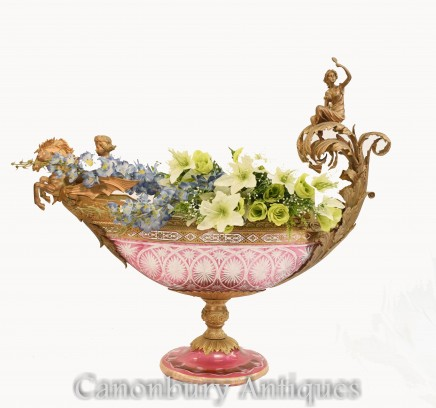 Empire Glass Vase - Cut Cherub Boater Comport French