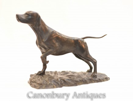 English Bronze Pointer Dog Statue - Doggy Sculpture