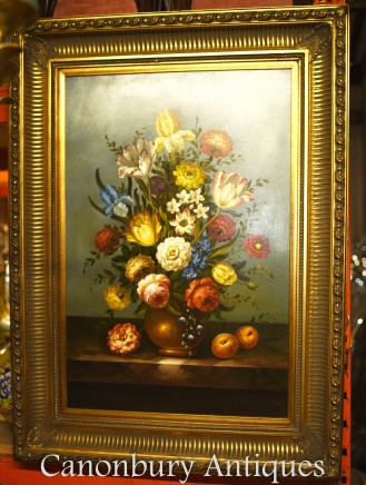 Victorian Oil Painting Floral Still Life - Gilt Frame