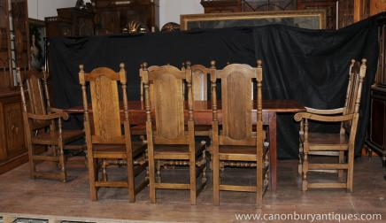 Farmhouse Dining Set Oak Refectory Table Willam and Mary Chairs - Dining Sets