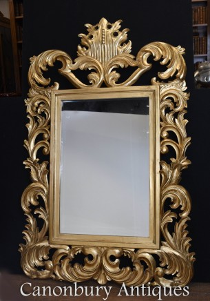 Florid French Rococo Giltwood Pier Mirror Glass