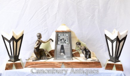 Art Deco Mantle Clock Set - French Antique Spelter Figurine 1920s Marble Urns