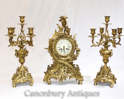French Antique Gilt Clock Set - Cherub Garniture