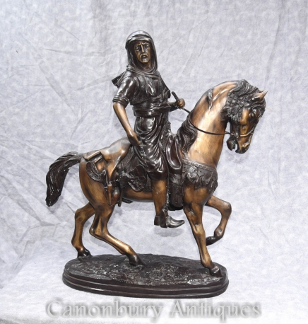 French Bronze Arab on Horseback Orientalist Statue By Barye