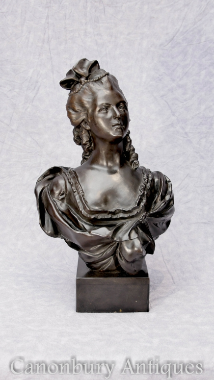 French Bronze Bust Marie Antoinette Casting Statue Queen of France