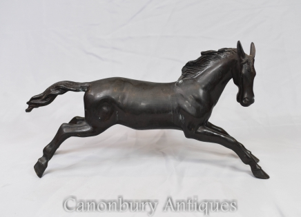 French Bronze Horse Statue Galloping Horses Pony