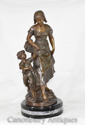 French Bronze Mother Child Figurine Signed S.Kingsburger