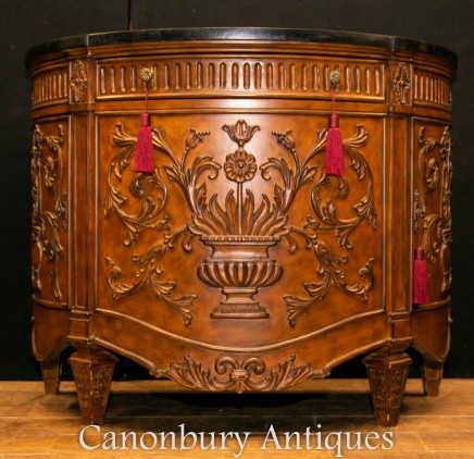 French Commode Cabinet - Walnut Carved Chest Demi Lune