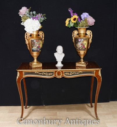 French Console Table - Empire Gilt with Marquetry Inlay Hall