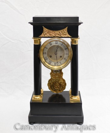 French Empire Antique Clock Gilt and Lacquer 1890