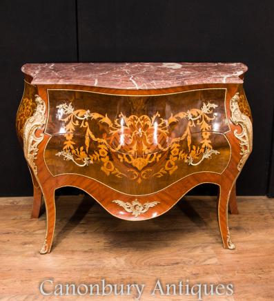 French Empire Chest Drawers -  Bombe Commode Marquetry Inlay