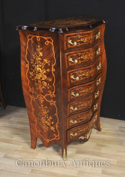 French Empire Bombe Chests Drawers Commode Tall Boy