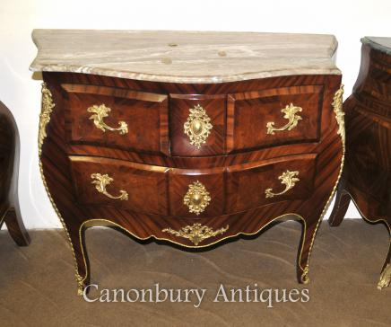 French Empire Bombe Commode Chest of Drawers Marble Top