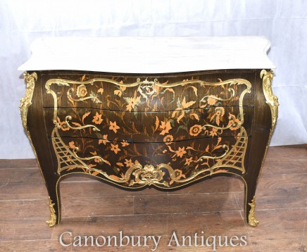 French Empire Bombe Commode Floral Inlay Chest Drawers