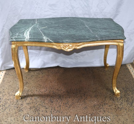 French Empire Coffee Table Gilt Marble Top