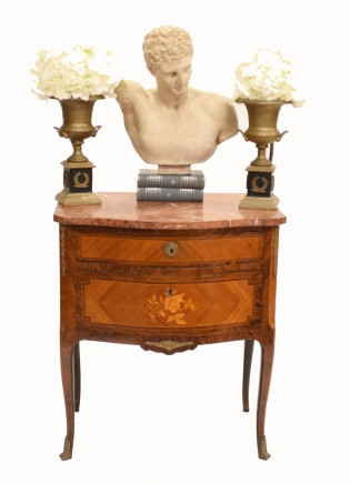 French Empire Commode Marquetry Inlay Antique Chest Drawers