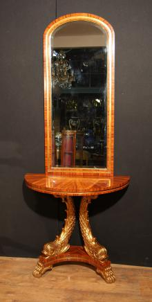 French Empire Console Table and Mirror Set Gilt Serpents
