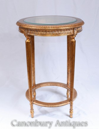 French Side Table - Empire Gilt Occassional Tables
