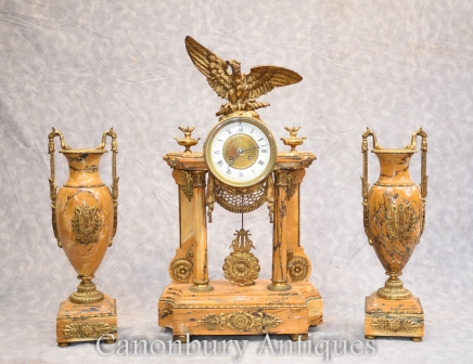 French Empire Clock - Marble Mantel Clocks Garniture Set Gilt Eagle