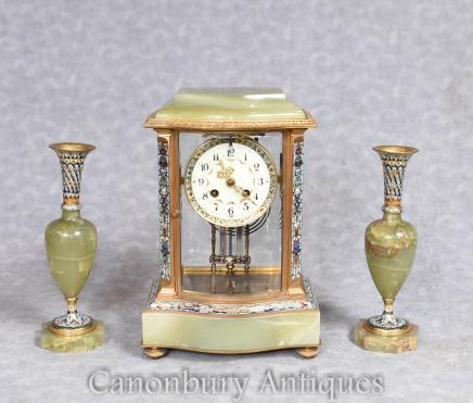 French Mantel Clock Empire Onyx Marble Cloisonne Set Garniture
