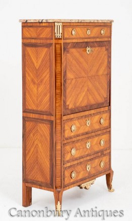 French Escritoire Antique Desk Chest of Drawers Kingwood