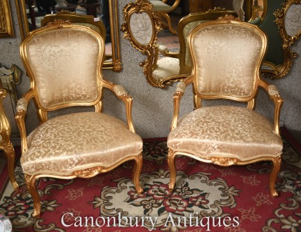 French Gilt Arm Chairs - Louis XVI Interiors Seats