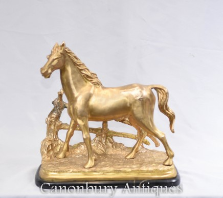 French Gilt Bronze Horse Statue