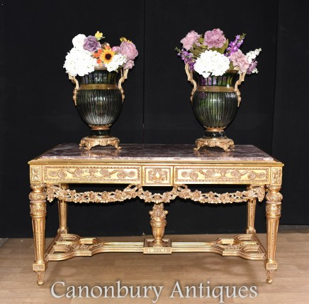 French Gilt Console Table - Hand Carved Louis XVI Hall Tables