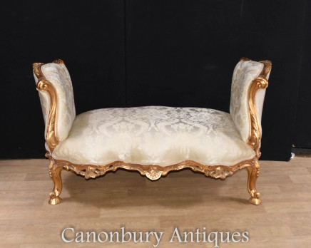 French Gilt Stool - Louis XVI Sofa Chaise Longue