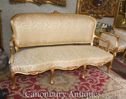 French Louis XVI Gilt Sofa Couch