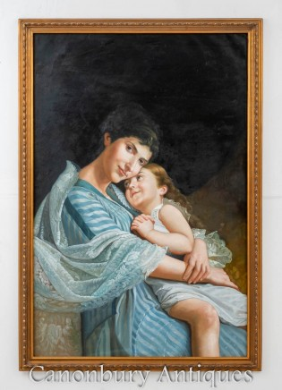 French Oil Painting Mother and Child Love Portrait