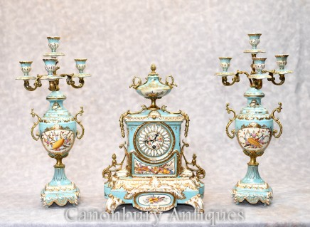French Porcelain Clock Set Garniture - Sevres Urns and Candelabras