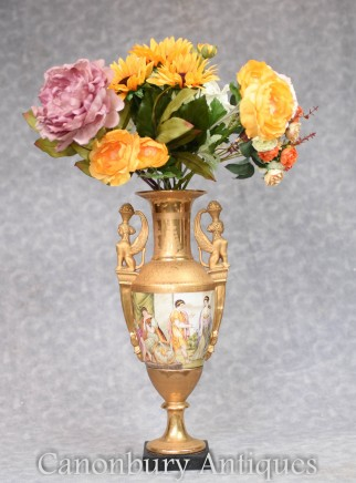 French Porcelain Urn - Sevres Amphora Vase Classical Roman Maidens