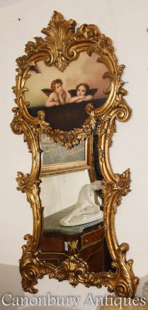 French Rococo Cherub Cupid Gilt Pier Mirror Glass Mirrors