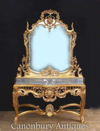 French Rococo Gilt Mirror and Table Set - Louis XVI Console