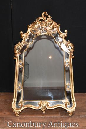 French Rococo Gilt Pier Mirror Glass Mirrros