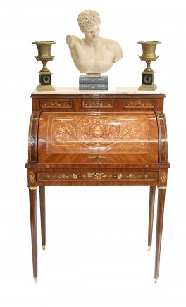 French Roll Top Desk Empire Marquetry Inlay Bureau