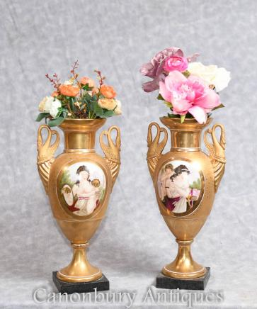 French Sevres Porcelain Vases Swan Handles Maidens