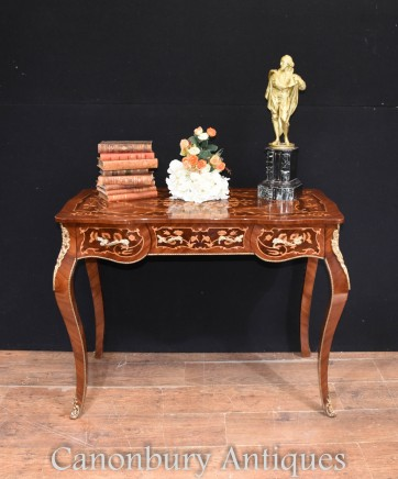 French Writing Desk Bureau Plat Marquetry Inlay