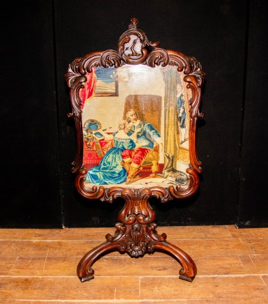 George III Mahogany and Needlepoint Pole Tapestry Screen Circa 1860