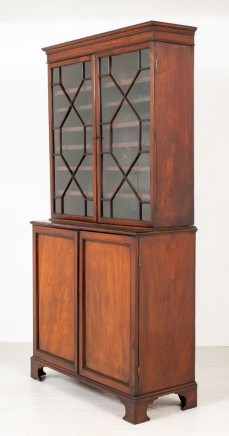 Georgian Library Bookcase - Antique Mahogany Cabinet