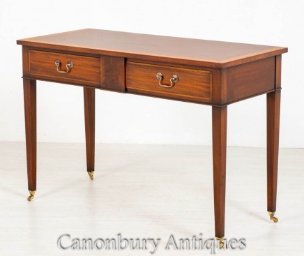 Georgian Side Table - 2 Drawer Antique Mahogany